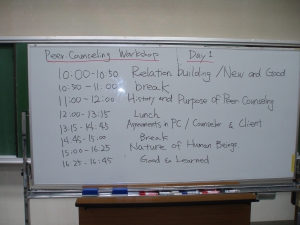 Time table of a Peer counseling program