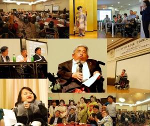 実行委員長の矢吹さんを中心に、全国集会が行われていることをイメージした写真