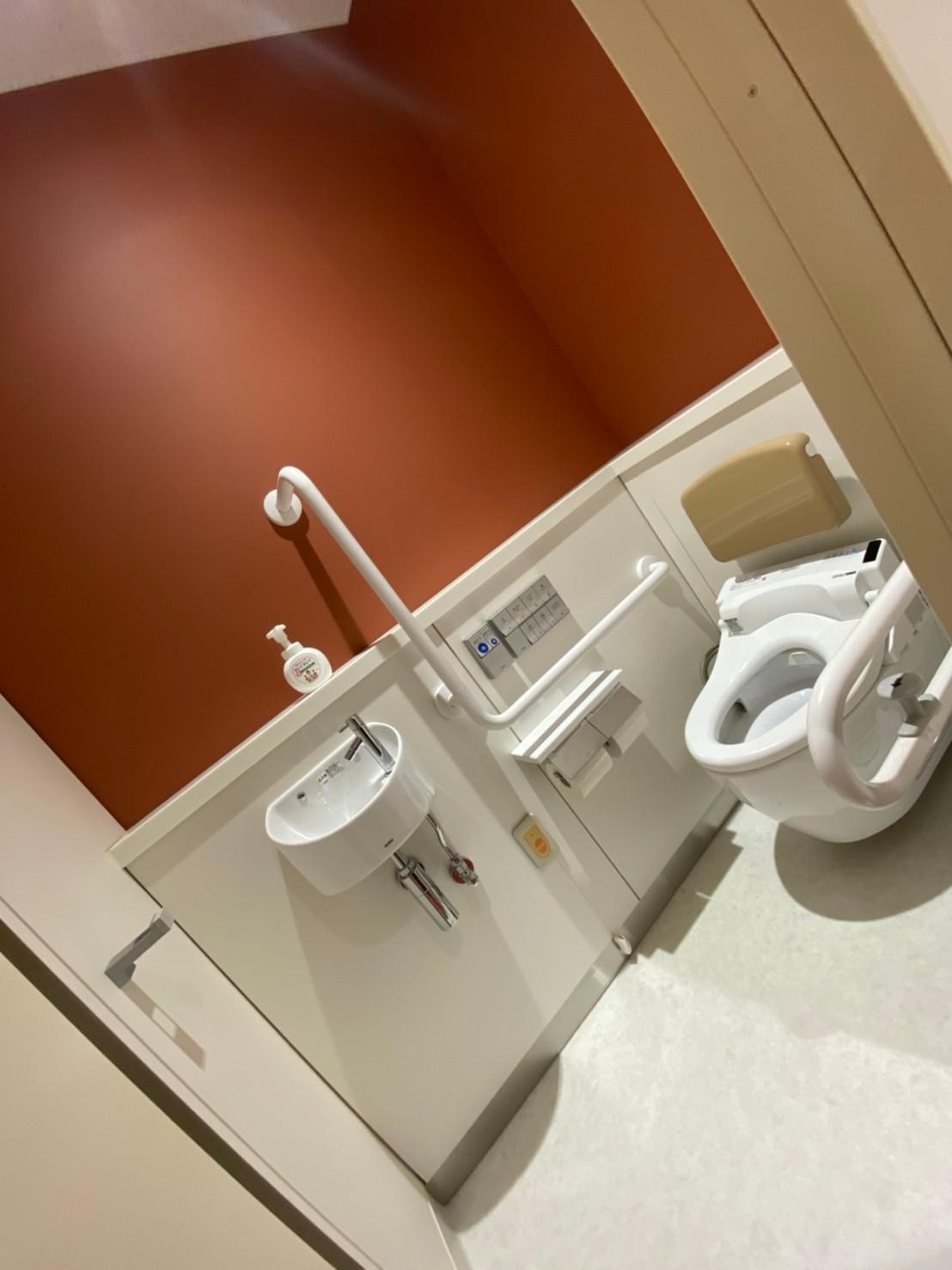 多目的トイレ4。ここはちょっと車椅子で入るには狭かったです。一般のトイレよりは広いので、歩行できる人が使うのかな