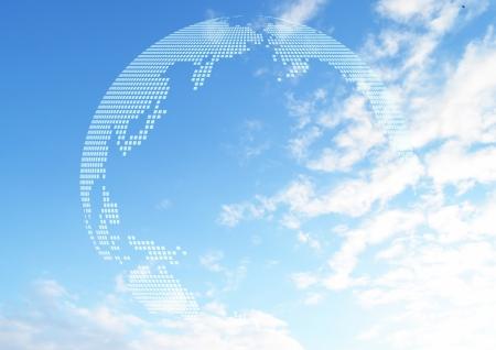 青空と地球儀の写真
