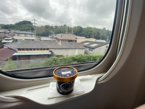 新幹線名物アイスクリームと車窓