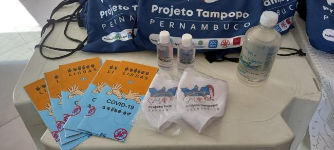 たんぽぽプロジェクトのパンフレット、オリジナルバッグ、マスクなど